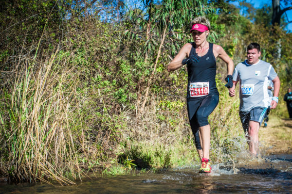 Leilani Scheffer in action during the 24km FNB Platinum Trail Run at the ATKV Buffelspoort on Sunday, 03 June 2018.  Photo Credit:  Tobias Ginsberg