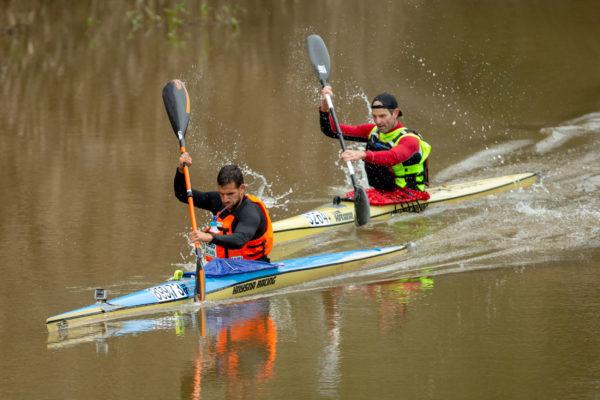 Team Bamboo Warehouse's Adrian Boros (front) and Graeme Solomon (back) were imperious as they grew their lead to over 10 minutes on stage two of the 2018 Berg River Canoe Marathon on Thursday. John Hishin/Gameplan Media