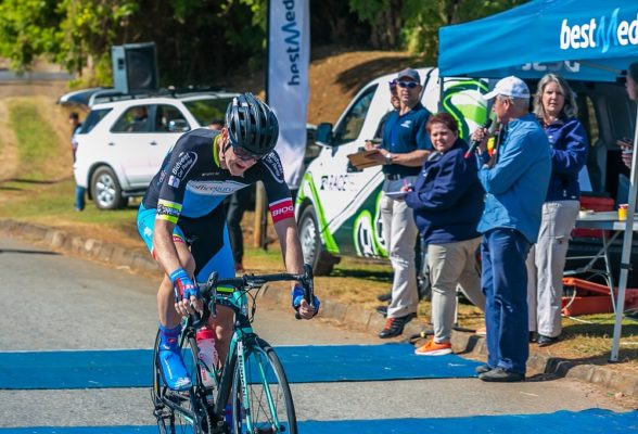 Dylan Girdlestone of OfficeGuru finished one second behind winner David Maree in the one-day three-stage Bestmed Jock Classic road cycle race, presented by Rudy Project, over 151km in Mbombela, Mpumalanga today. Picture: Memories 4 U Photography