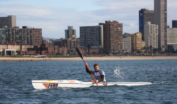 Fenn Kayaks/Euro Steel's Hank McGregor won the Citadel race on Sunday, opening his account at the 2018 Bay Union Open Ocean Surfski series. Lynne Hauptfleisch/Gameplan Media