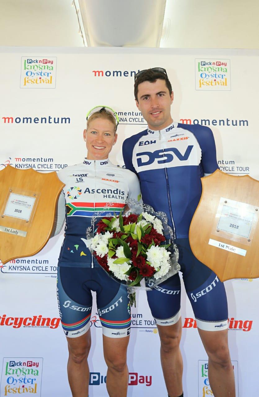 Winners of the 80km MTB Knysna Cycle Tour Heyns and de Groot