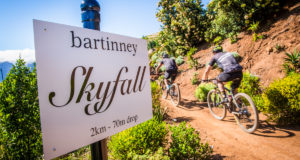 Mountain bikers entering the much talked about Bartinney Skyfall section of the Origin Of Trails MTB Experience Route.  Photo Credit:  Tobias Ginsberg