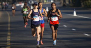 Tish Jones and Glenrose Xaba in action at the 2018 Totalsports Women's Race Durban at the end of July.  Photo Credit:  Rogan Ward
