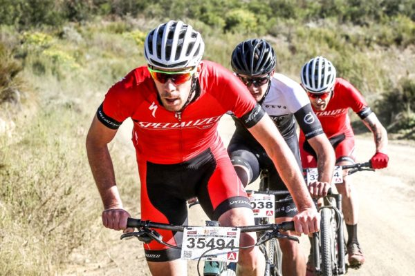 Craig Boyes (front) was accompanied by Matthew Keyser and Waylon Woolcock in a break-away which led the 2018 BUCO Karoo to Coast from the 85 kilometre mark to the finish line in Knysna. Photo by Oakpics.com.