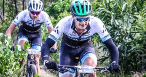 Aidan Connelly leads his The Bike Shop/SCOTT/Strocam teammate Rogan Smart through a section of the spectacular Cairnbrogie singletrack. Photo by Oakpics.com.