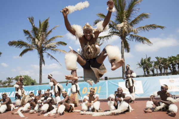 Amabhubesi Zulu Dancers at FNB Durban 10K CITYSURFRUN by Rogan Ward