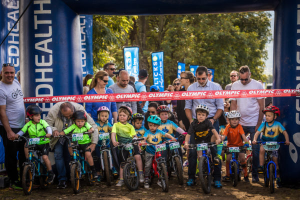 Junior mountain bikers at the start of the 500m Fedhealth Kids MTB Event.  Photo Credit:  Tobias Ginsberg