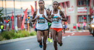Stella Chesang and Jackline Chepngeno in action at the 2018 FNB Cape Town 12 ONERUN.  Chesang finished 2nd behind Chepngeno on the day.  Photo Credit:  Tobias Ginsberg