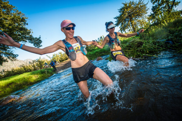 Chantel Nienaber and Katya Soggot in action in Stellenbosch during the 2018 AfricanX Trailrun presented by ASICS.  Photo Credit:  Tobias Ginsberg
