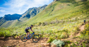 Mountain biking enthusiasts enjoying the spectacular Stellenbosch routes at the 2017 Origin Of Trails MTB Experience.  Photo Credit:  Tobias Ginsberg
