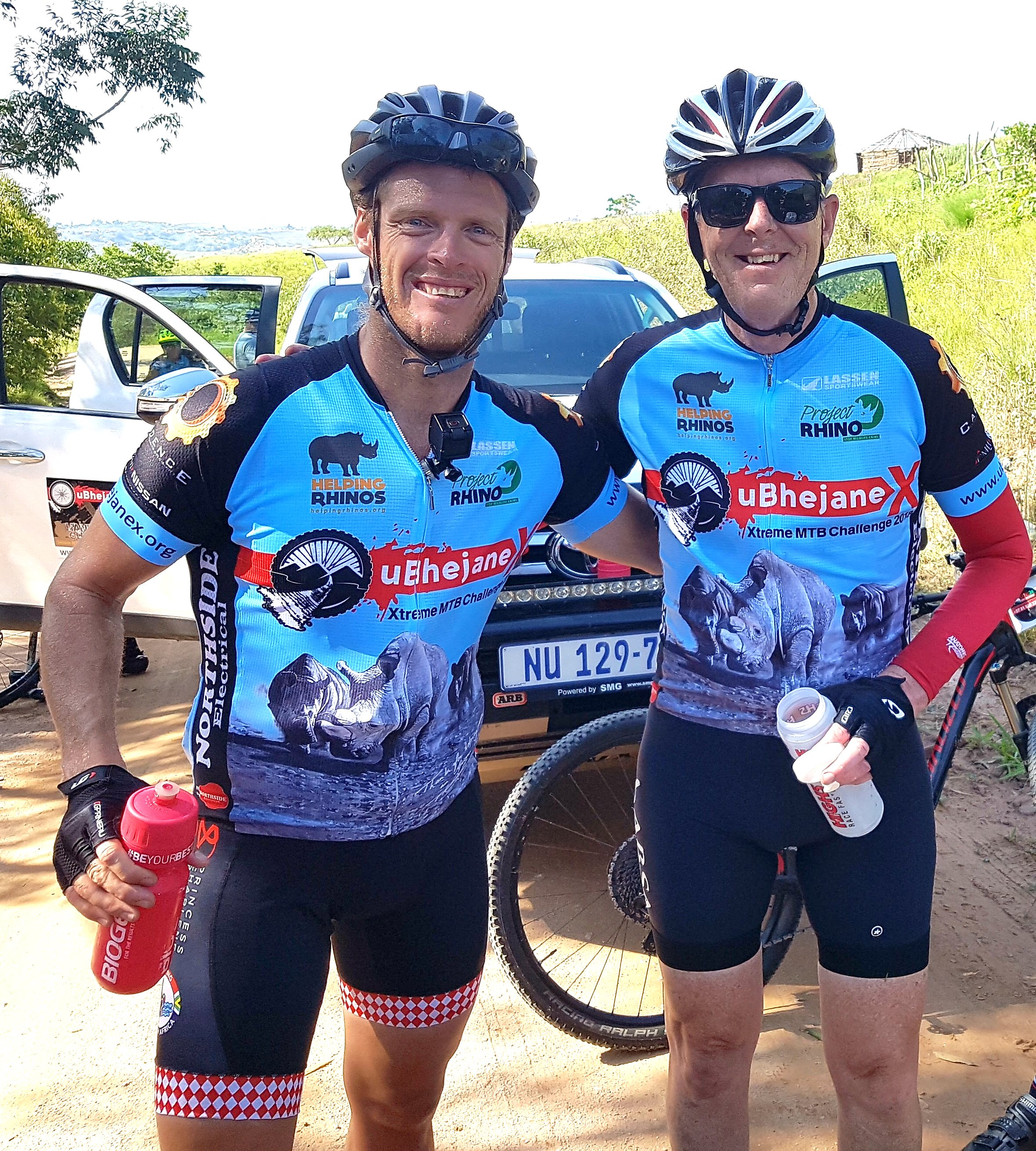 """Olympian Terence Parkin (left) and Kloof cyclist Dave Duke (right) looking fresh halfway through the 140km first stageon Thursday of their attempt at a 570km 'Ultimate' uBhejane Xtreme MTB Challenge. """"Rhino poaching is sadly at a record high, threat of extinction is real. That is why we are doing this ride. There may be no more of these magnificent beasts left for future generations,"""" said Duke. Grant Fowlds/ Gameplan Media"""
