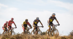 Mixed team Rene Haselbacher and Sabine Sommer leads the bunch during stage 4 of the 2015 Absa Cape Epic Mountain Bike stage race from HTS Drostdy in Worcester, South Africa on the 19 March 2015  Photo by Ewald Sadie/Cape Epic/SPORTZPICS