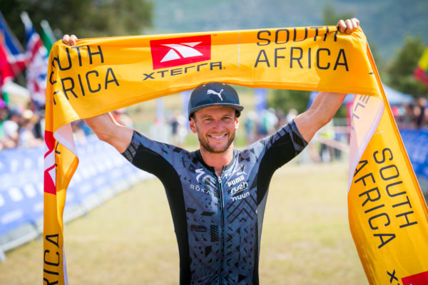 Bradley Weiss claiming gold at the XTERRA South Africa Championship in Grabouw.  Photo Credit:  Mark Sampson