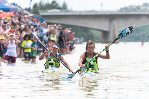 An incredible end sprint in the ladies race decided the title as Chrisite Mackenzie (right) pipped Tamika Haw (left) to the line on day three of the 2019 FNB Dusi Canoe Marathon on Saturday. Anthony Grote/ Gameplan Media