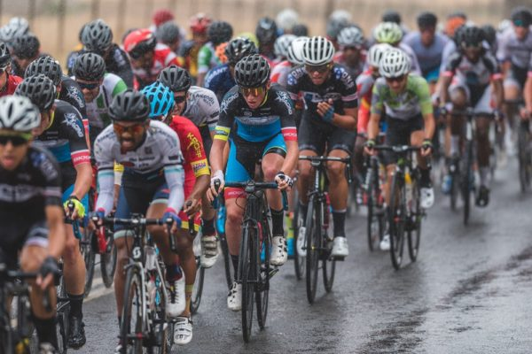Riders battled wet weather on the opening stage of 58.5km in the Takealot Tour of Good Hope road cycle race near Paarl in the Cape Winelands today. Photo: Henk Neuhoff Photography