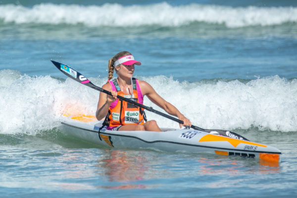 Euro Steel's Nikki Birkett finished in third in the ladies race at the South African Singles Surfski Championships at the Strand on Sunday. John Hishin/ Gameplan Media