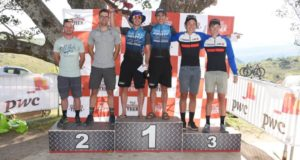 The men's general classification podium. From left to right: Tyrone White, Andrew Hill, Marco Joubert, Nicol Carstens, Roussouw Bekker and Mark Fourie. Photo by Peter Kirk.
