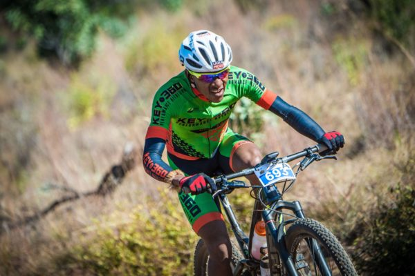 Phillimon Sebona in action during the 2017 FNB Magalies Monster MTB Classic.  Photo Credit:  Tobias Ginsberg