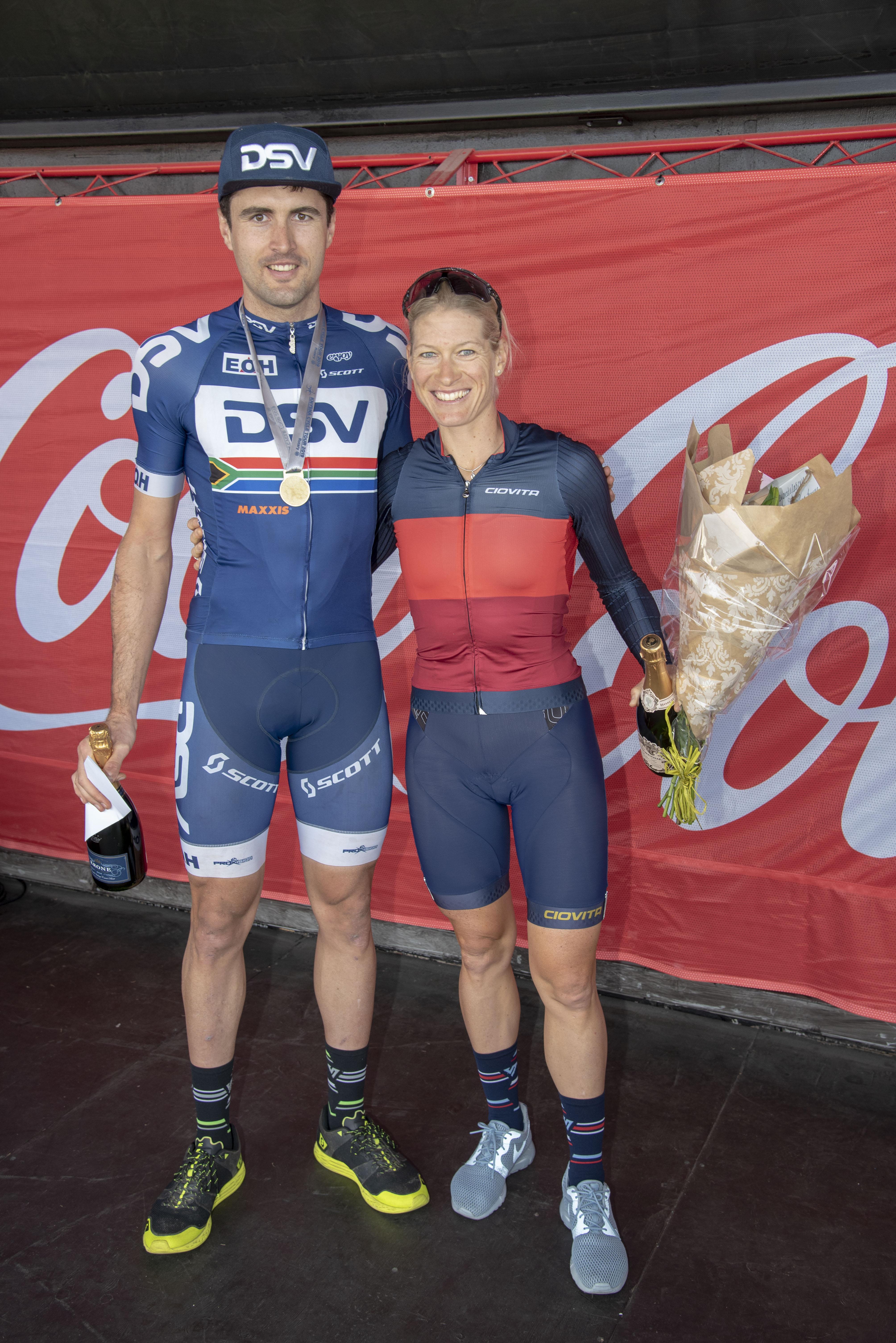 Winners 80 km MTB Gert Heyns and Robyn de Groot high res