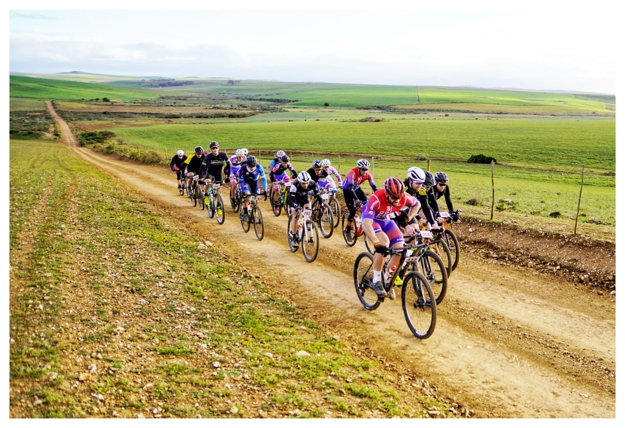 4.The leading bunch riding through the farmlands of the Overberg. Mike Posthumus was dominant on the front most of the way.