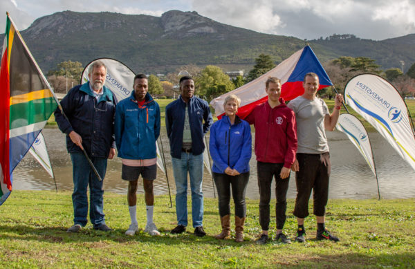 Visiting international paddlers Petr Mojžíšek (right) and Matthias Schmidt (second from right) get a typical Paarl welcome from (left to right) Drakenstein Executive Deputy Mayor Councillor Gert Combrink, Capensis Change A Life team paddlers Khumbulani Nzimande and Siyanda Gwamanda and the Western Cape Minister of Cultural Affairs and Sport Anroux Marais, ahead of the start of the Berg River Canoe Marathon on Wednesday morning. John Hishin/ Gameplan Media