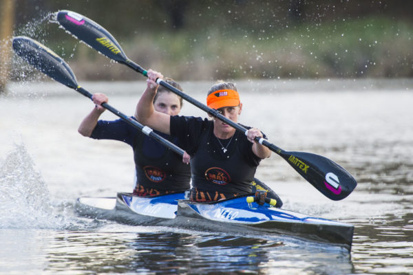 Pictured on their way to winning the SA Marathon Championship K2 title together in 2015, the internationally renowned pair of Jenna Ward and Kyeta Purchase will team up again for this year's Hansa Fish River Canoe Marathon from 27-28 September. Anthony Grote/ Gameplan Media