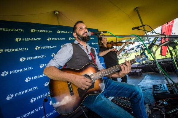 Newton & Co in action performing live for mountain bikers at the 2018 Fedhealth MTB Challenge at Boschendal Farm Estate. Photo Credit: Tobias Ginsberg