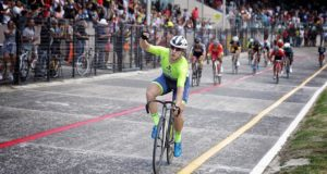 Bernhard Esterhuizen crosses the finish line last year to claim victory in the 25-Mile. Picture caption: Laurel Andrews