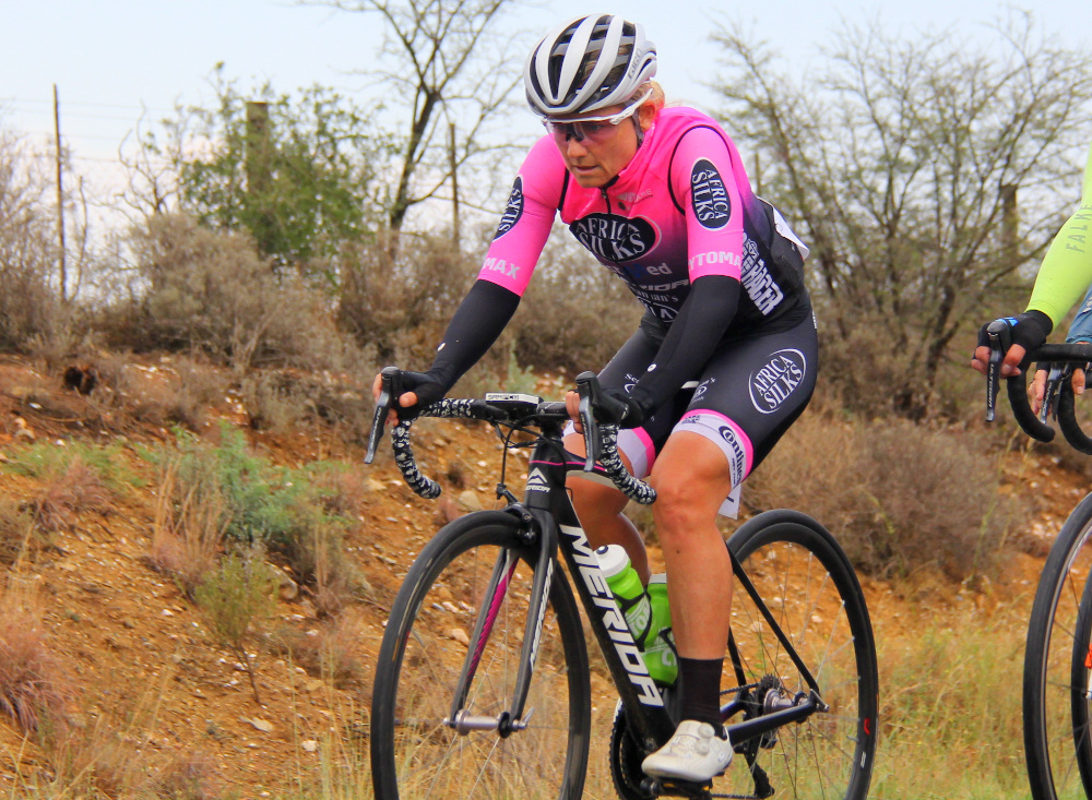 Defending champion Anriette Schoeman will be chasing her 19th title when the Lorraine Cycle Tour, sponsored by African Bank, Mecer and Strada, takes place in Port Elizabeth on Saturday. Photo: Full Stop Communications