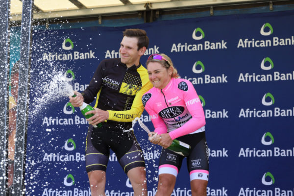 Bradley Gouveris (left) and Anriette Schoeman celebrate their victories the 80km feature races in the Lorraine Cycle Tour, sponsored by African Bank, Mecer and Strada, in Port Elizabeth today. Photo: Fabian Smith