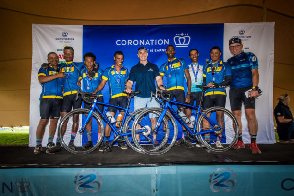 Coronation continued their support of cycling in historically disadvantaged areas by donating two Giant bicycles to the Swellendam Cycling Development Team, who also took part in the 2019 Coronation Double Century. Photo by Tobias Ginsberg/Volume Photography.