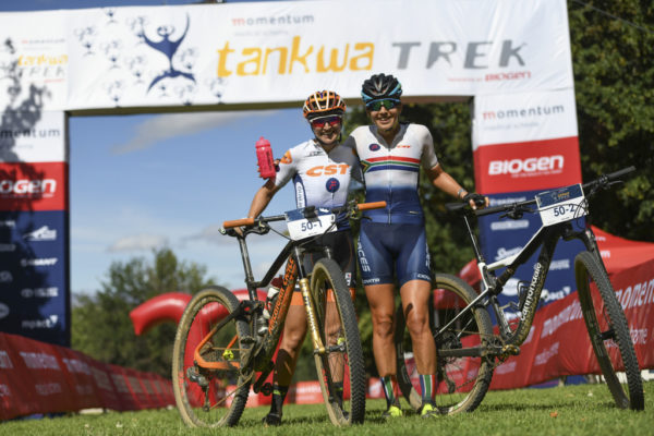 Candice Lill and Mariske Strauss kicked off their partnership with a stage victory on Day 1 of the Momentum Medical Scheme Tankwa Trek presented by Biogen. Photo by ZC Marketing Consulting.